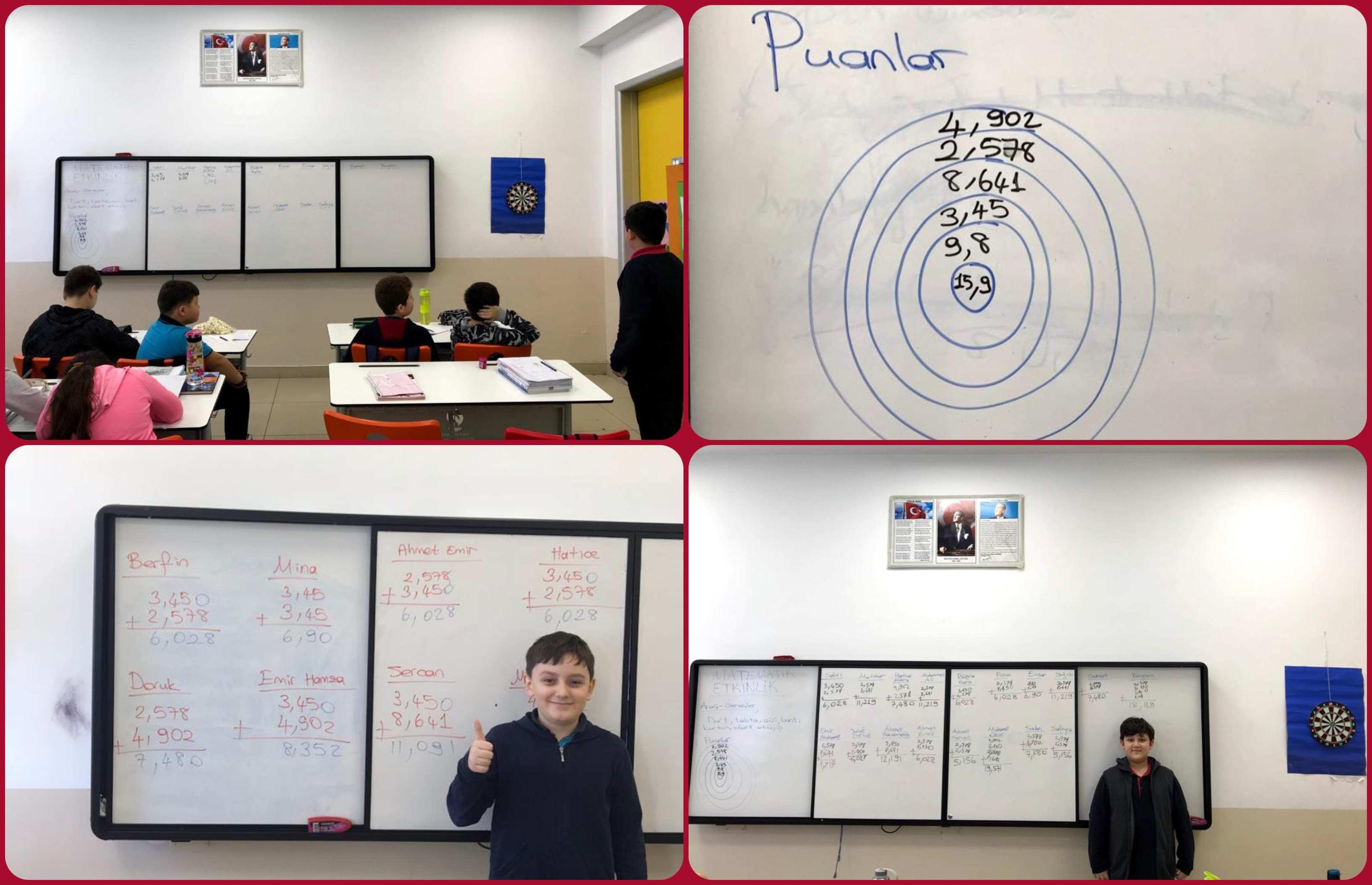 Matematik Dersinde Ondalık Gösterimlerde Toplama İşlemini Pekiştirmek İçin Dart Etkinliği Yaptık