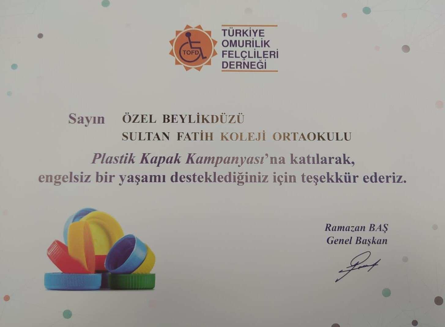 """Sultan Fatih Eğitim Kurumları Olarak TOFD ( TÜRKİYE OMURİLİK FELÇLİLERİ DERNEĞİ) İçin """"Mavi Kapak Toplama"""" Kampanyamız"""