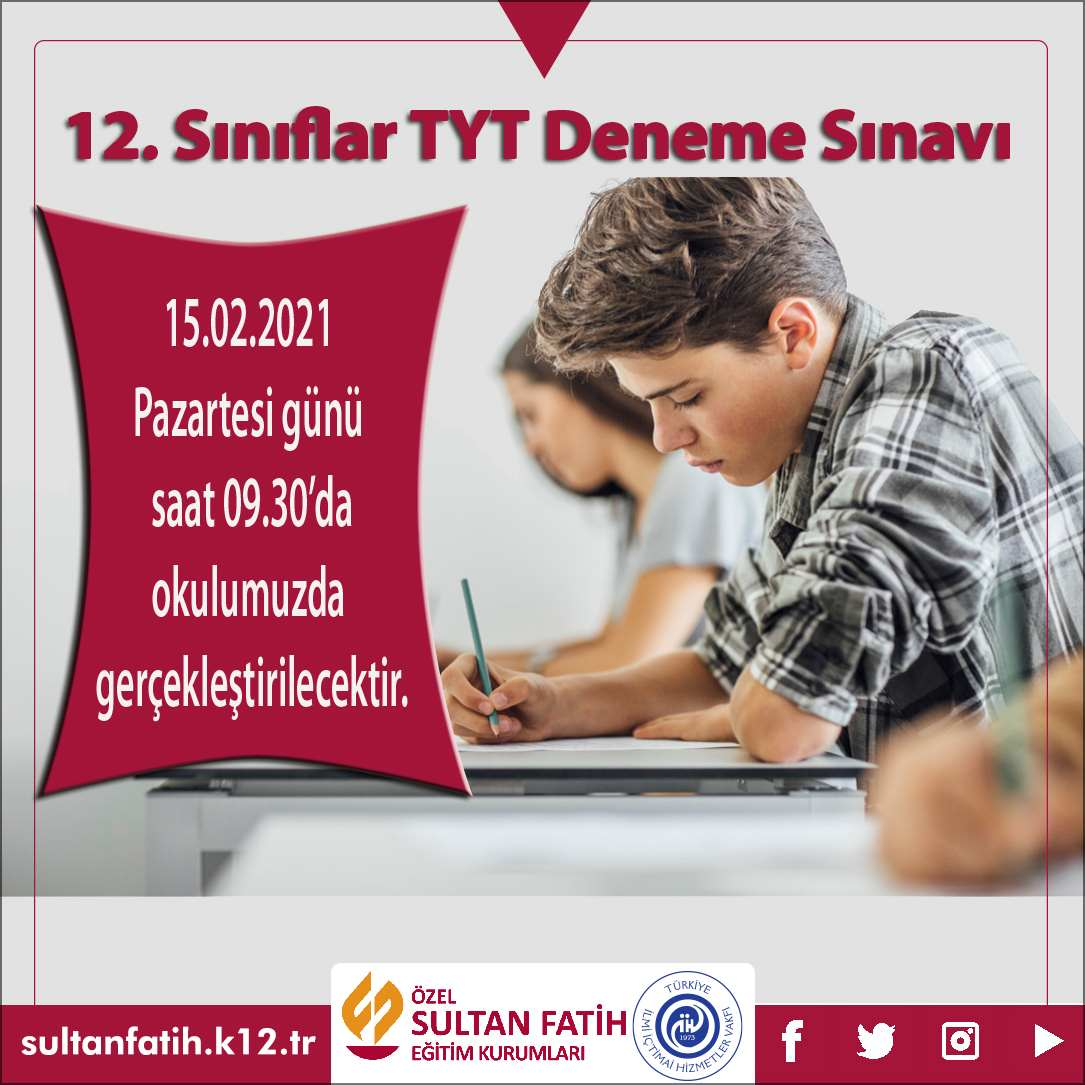 12.SINIFLAR TYT DENEME SINAVI