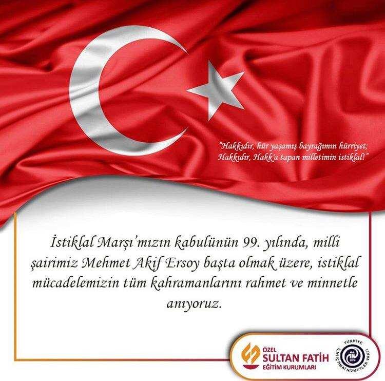 İSTİKLAL MARŞIMIZIN KABULÜNÜN  99. YILI.