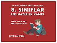 2018-2019 EĞİTİM ÖĞRETİM YILI 8.SINIFLAR LGS HAZIRLIK KAMPI BAŞLIYOR